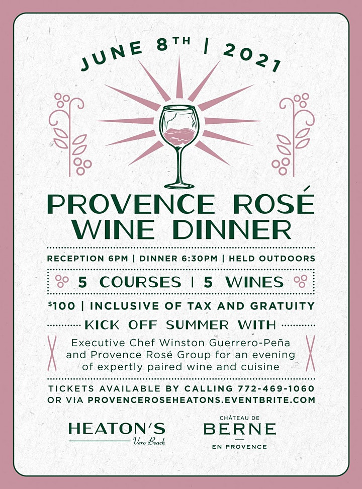 Provence Rose Dinner at Heaton's Vero Beach image