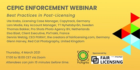Recording of CEPIC Enforcement Webinar tickets