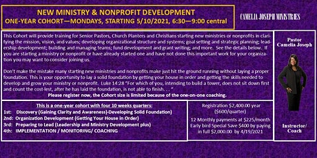 NEW MINISTRY & NONPROFIT DEVELOPMENT ONE-YEAR COHORT tickets