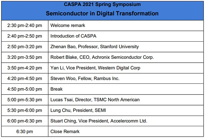 CASPA 2021 Spring Symposium: Semiconductor in Digital Transformation image