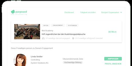 Webinar für interessierte NPOs: Freiwillige einfacher finden mit purpozed Tickets