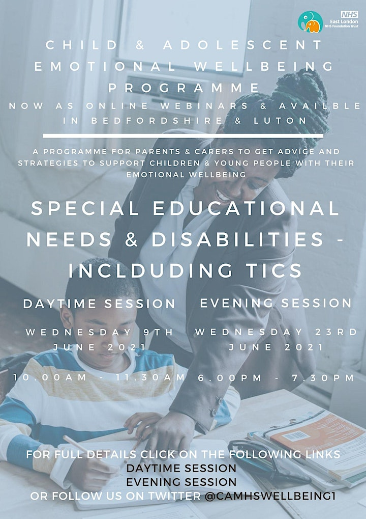 Special Educational Needs & Disabilities (SEND) including Tics (PM session) image