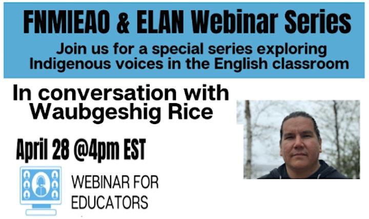 In Conversation with Waubgeshig Rice - Educator Webinar image