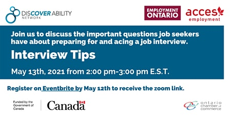 ACCES Employment and Discover Ability; Job Interview tips tickets