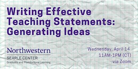 Writing an Effective Teaching Statement: Generating Ideas tickets