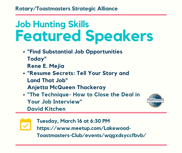 Job Hunting Skills: A Special Toastmasters Workshop image