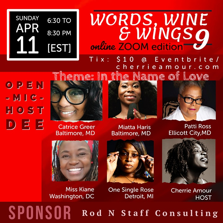 Words, Wine & Wings 9 - Online/Zoom Edition image