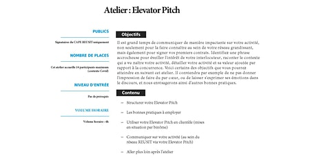 Atelier Elevator Pitch billets