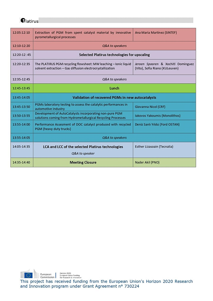 Platirus Exploitation Workshop for PGMs recovery technologies image