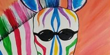 My Wild Zebra (canvas painting) Paint Nite Event  at Blue Dyer (4/13 ) tickets