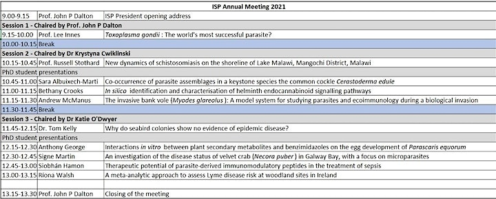 Irish Society for Parasitology Annual Meeting image