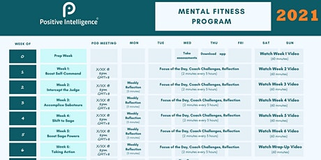 Positive Intelligence (PQ) 2021 program   for mental fitness tickets