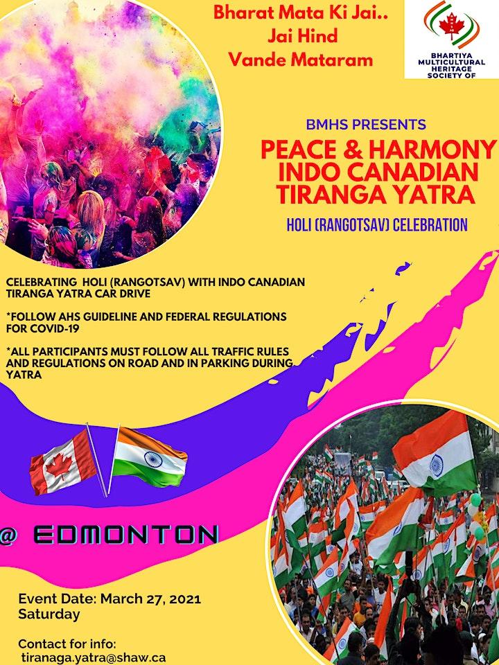 HOLI (RANGOTSAV) Celebration with Indo Canadian Peace Tiranga Yatra image
