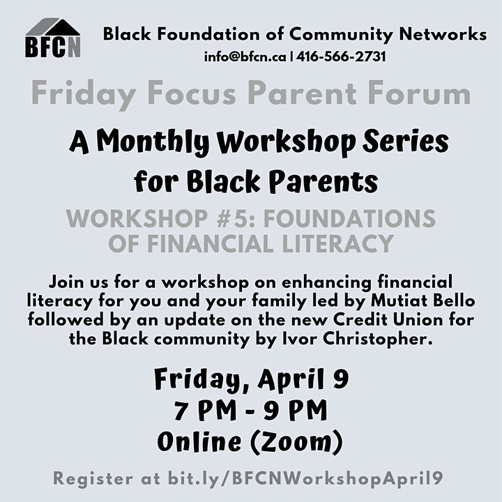 BFCN Friday Focus Parent  Workshop #5: Foundations Of Financial Literacy image
