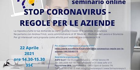 STOP CORONAVIRUS  -  REGOLE PER LE AZIENDE biglietti