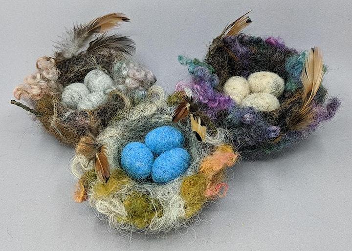 Needle Felt a Bird Nest with Eggs Workshop - Weeke image
