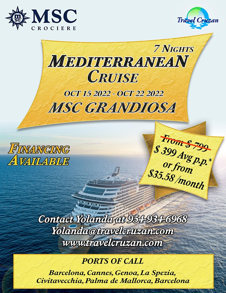 7 NIGHT MEDITERRANEAN CRUISE ON MSC GRANDIOSO image