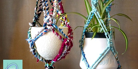 Make a Macrame Plant Hanger from Fabric Scrap Twine tickets