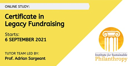 Certificate in Legacy Fundraising (September 2021) tickets