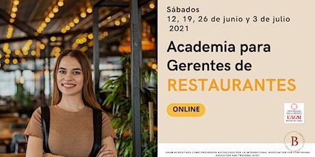 Restaurantes; Academia para Gerentes ONLINE entradas