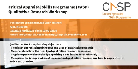 Virtual CASP Workshop - Critical Appraisal of Qualitative Research tickets