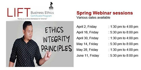 LIFT Business Ethics Certificate Program - WEBINAR tickets