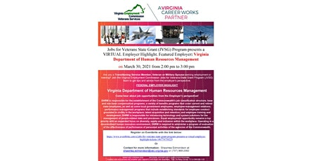 Jobs for Veterans State Grant Program presents a VIRTUAL Employer Highlight tickets