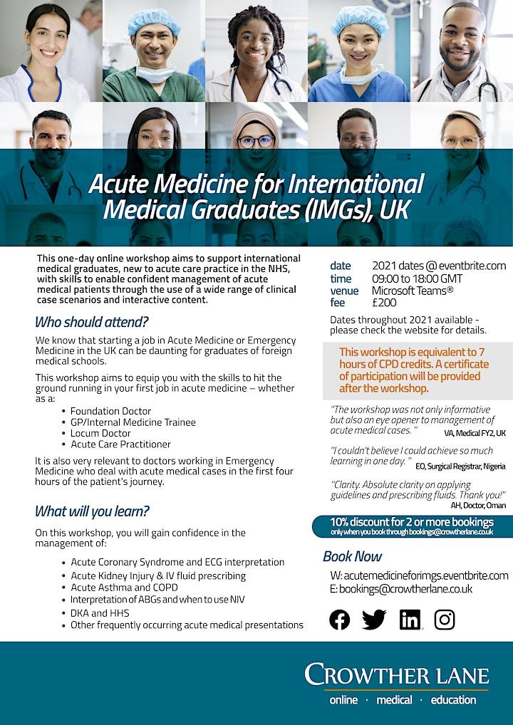 9th Acute Medicine for International Medical Graduates (IMGs) workshop, UK image