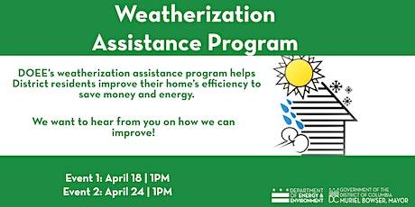 Weatherization Assistance Program State Plan tickets