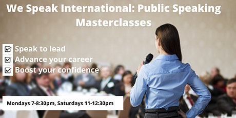 Free Public Speaking Masterclass with Award Winning International Speaker tickets