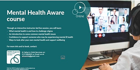 Mental Health First Aid England Adult 1/2 Day ONLINE tickets