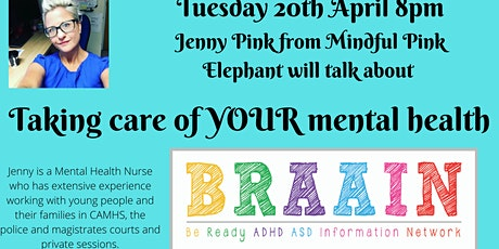 Workshop with Jenny Pink - Managing YOUR Mental Health as Parents/Carers tickets