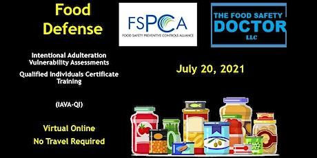 FSPCA (IAVA-QI) Food Defense  Qualified Individuals Virtual Training tickets