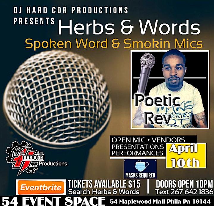 Herbs & Words Spoken Word & Smokin Mics April 10th image