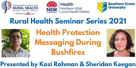 Health Protection Messaging During Bushfires|Kazi Rahman & Sheridan Keegan tickets