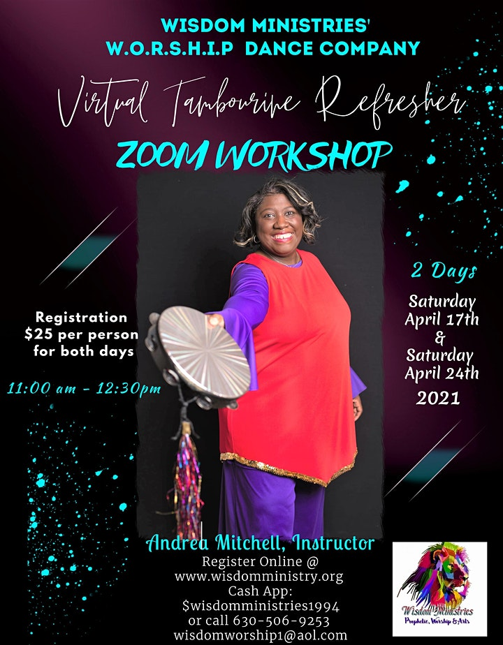 W.O.R.S.H.I.P. Dance Company Virtual Tambourine Refresher Zoom Workshop image