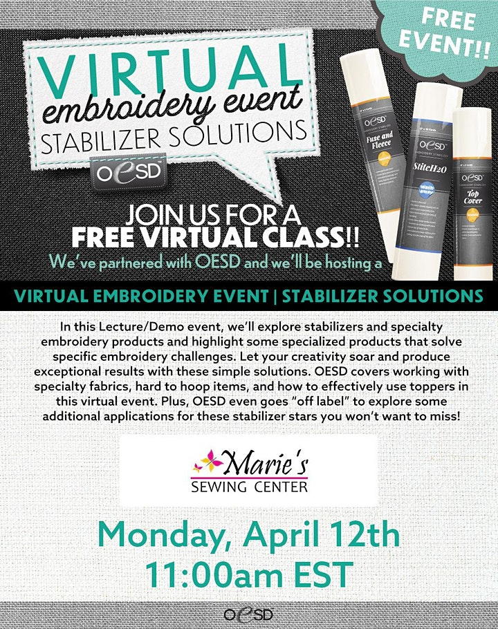 Marie's Sewing Center Virtual Embroidery Event image
