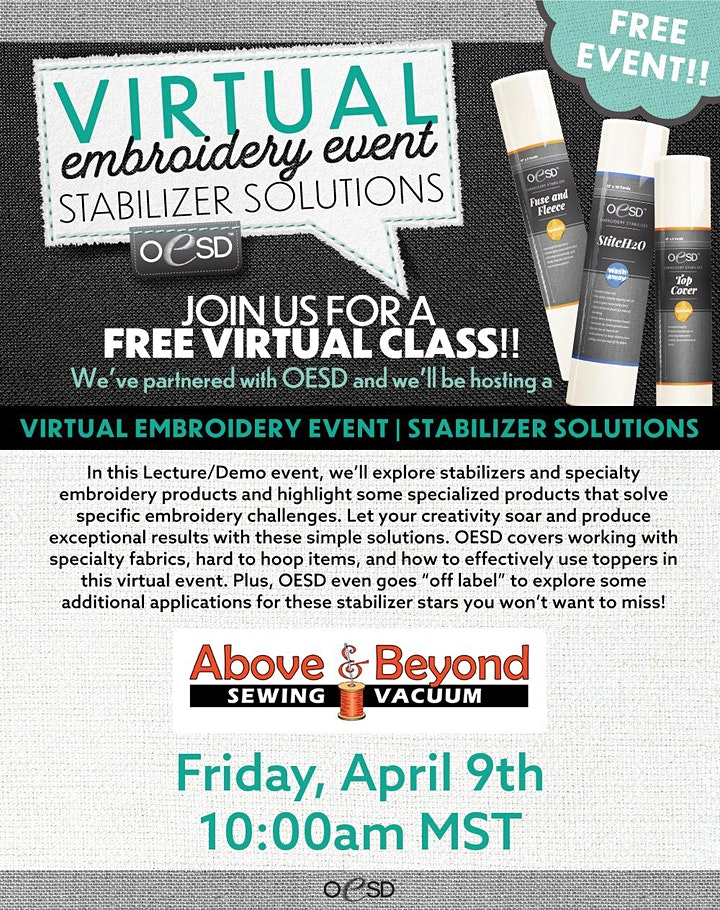 Above and Beyond Sewing Virtual Embroidery Event image
