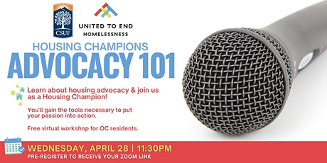Housing Champions Advocacy 101 Online Workshop (Fullerton) tickets
