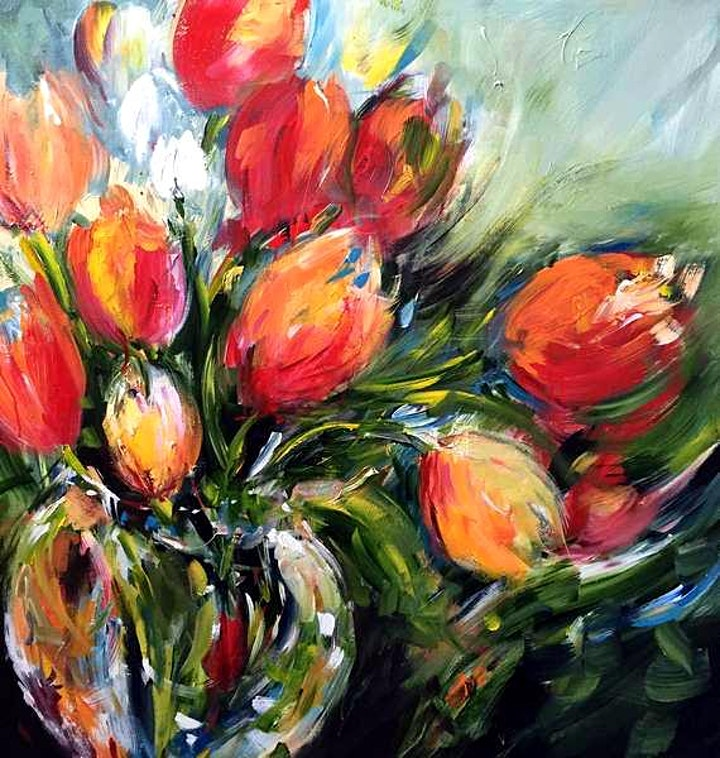 Wild Tulips in a Glass Vase - Art Class image