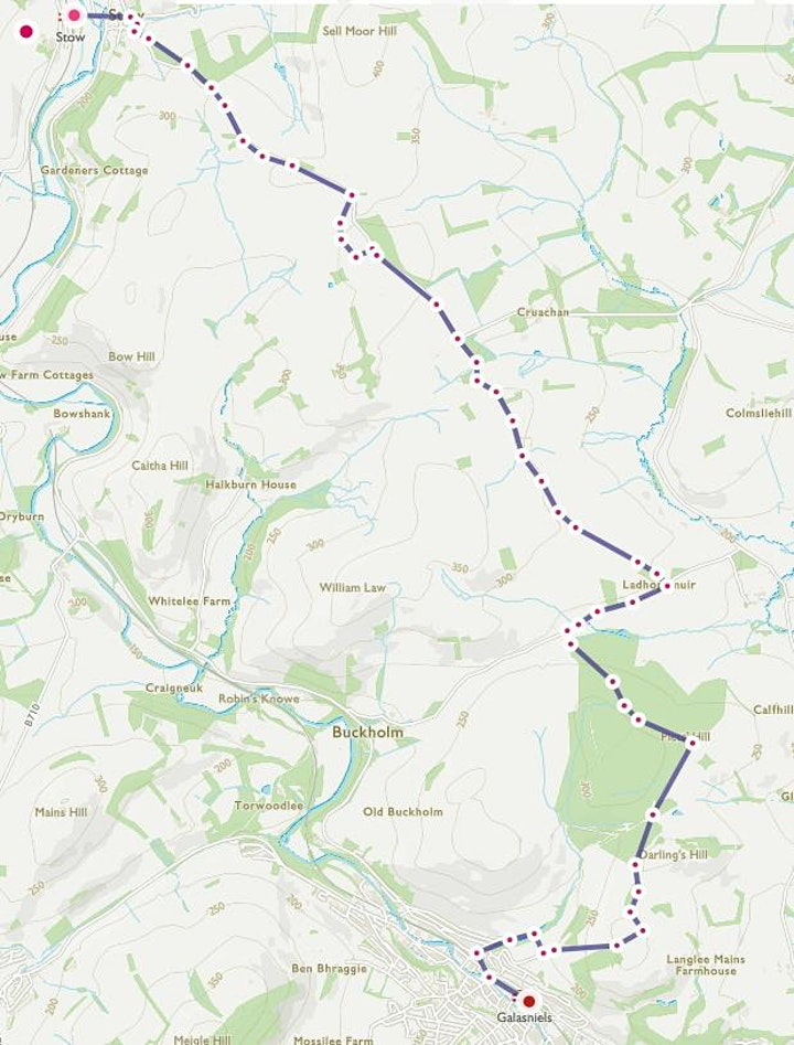 Stow to Galashiels (wind farm route ) - with Stow image