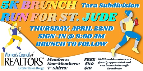 WCR Greater Baton Rouge 5k Brunch Run for St. Jude tickets