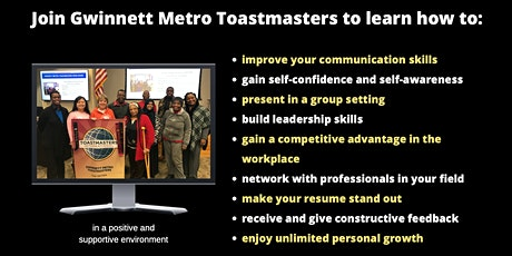 Improve your Communication Skills with the Gwinnett Metro Toastmasters Club tickets