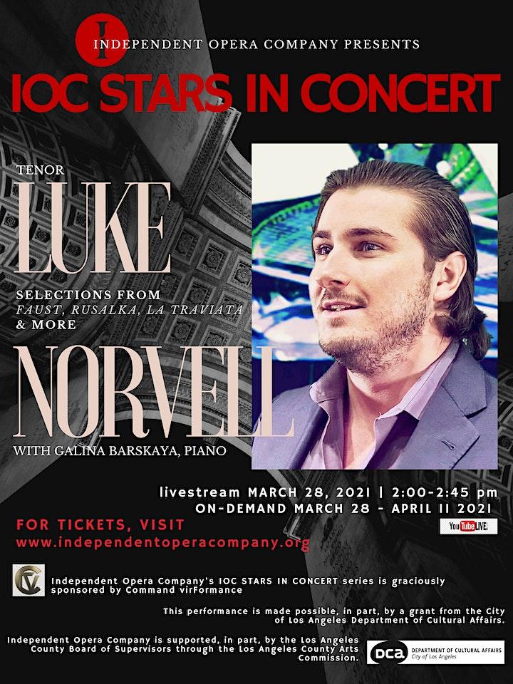 IOC Stars in Concert: Luke Norvell, tenor with Galina Barskaya, piano image