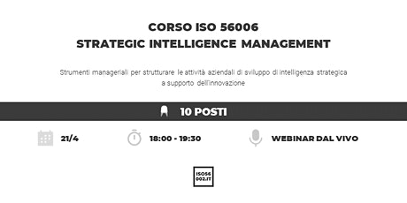 Corso ISO 56006 Strategic Intelligence Management biglietti
