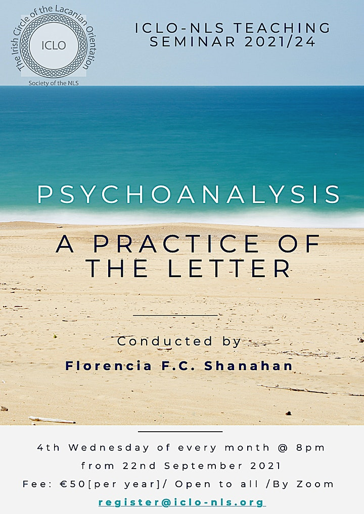 "ICLO-NLS Teaching Seminar: ""Psychoanalysis - A Practice of the Letter"" image"