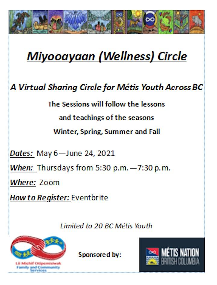 Miyooayaan (Wellness) Circle  A Virtual Sharing Circle for Métis Youth image