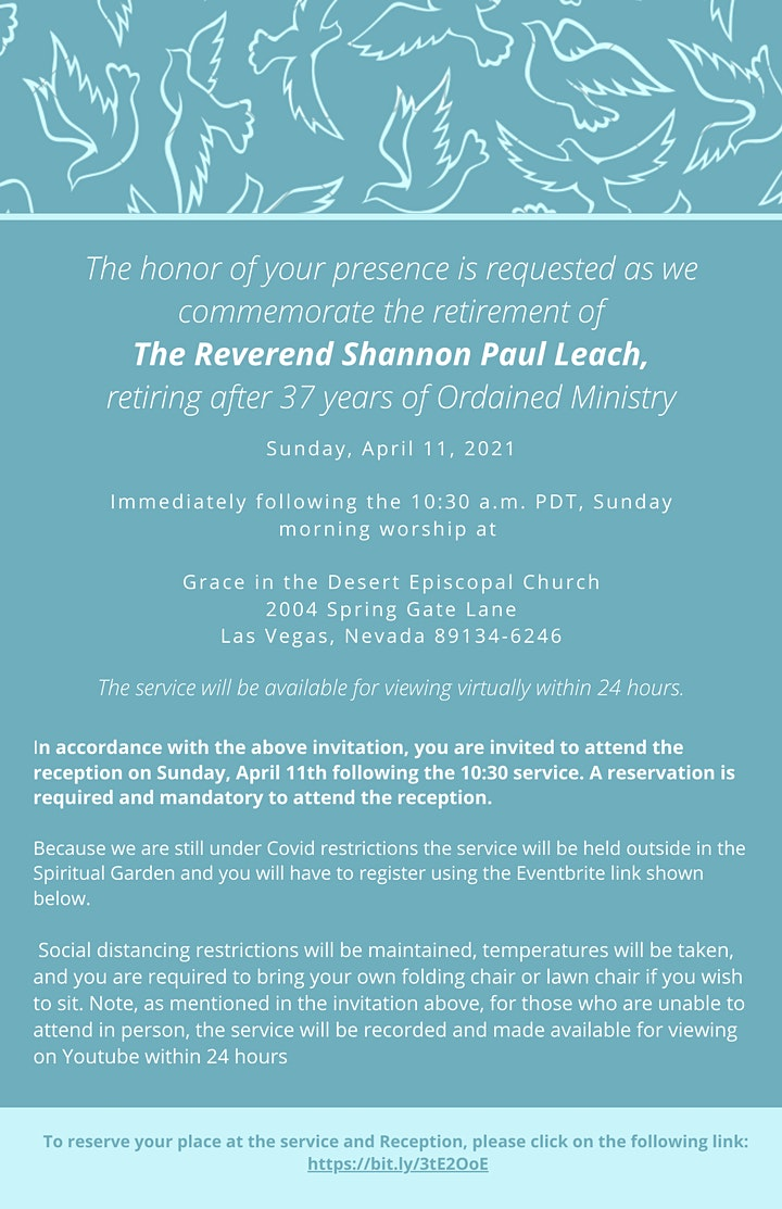 The Reverend  Shannon Paul Leach Retirement  Service image