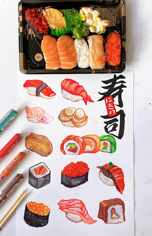 Sushi Painting Workshop with Karin Brushmarkers image