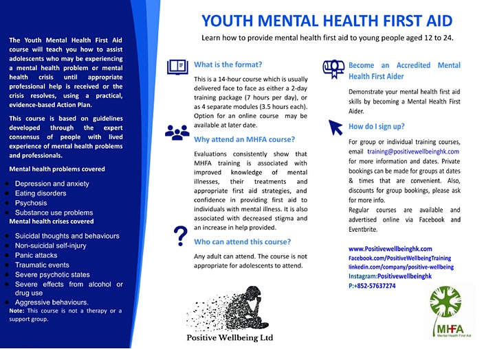 Youth Mental Health First Aid  (14 hrs training) 16th & 21st April 2021 image